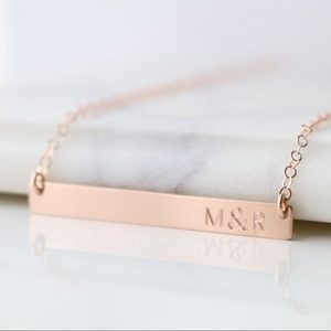 Jewelry - 14K Rose GF Couples Initials Engraved Bar Necklace